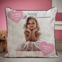 personalised Mother's Day Heart Photo Piped Cushion 18x18""
