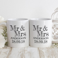 personalised mr and mrs date double mug