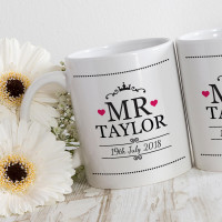 personalised mr and mrs heart matching mugs