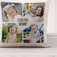 Personalised Heart Collage Cushion (White) 18x18""