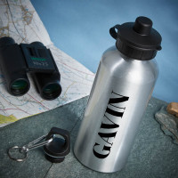 personalised name silver water bottle