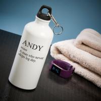 personalised never misses leg day white water bottle