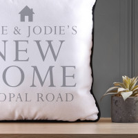 personalised new home piped cushion