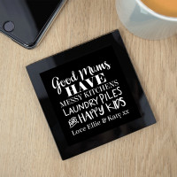 personalised Good Mums Black Glass Coaster