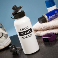 personalised no pain no gain white water bottle