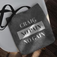 personalised no pain no gain tote bag