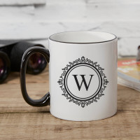 personalised Ornate Circle Monogram Two Tone Mug Black