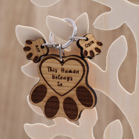 personalised Wooden Paws Keyring