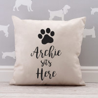 personalised Dog Sits Here Cotton Cushion