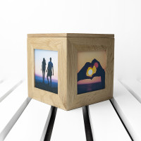 personalised Floral Frame Oak Photo Cube