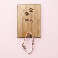 personalised wooden dog lead hook