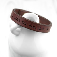 personalised Men's Thick Brown Leather Bracelet