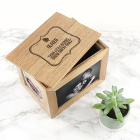 personalised Little Acorn Oak Photo Cube Keepsake Box