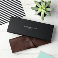 personalised Elie Beaumont Grey Square Leather Watch