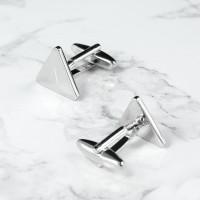 personalised Triangle Rhodium Plated Cufflinks