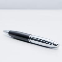 personalised Cross Calais Ball Pen Black & Chrome