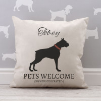 personalised Pets Welcome Cotton Cushion