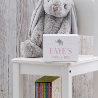 personalised Baby Girl's Elephant Wooden Money Box