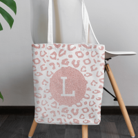 personalised pink glitter leopard print tote bag