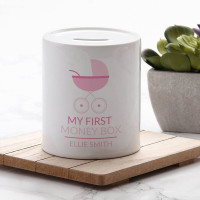 personalised Pink My First Personalised Money Box