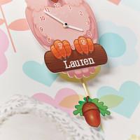 personalised Pink Owl Pendulum Clock