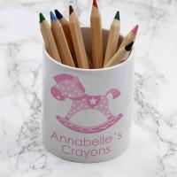 personalised Pink Rocking Horse Pen Pot