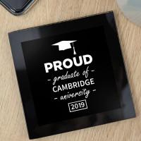 personalised Proud Graduate Black Glass Coaster