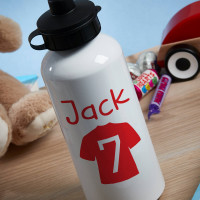 Personalised Red Football Shirt White Water Bottle