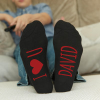 personalised Red I Heart You Personalised Socks