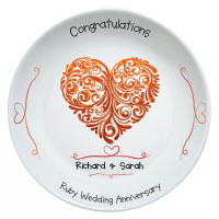persoanlised Ruby Anniversary Plate