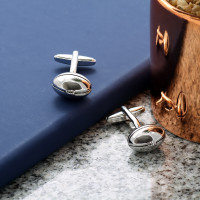 personalised Rugby Ball Sports Cufflinks Gift Set