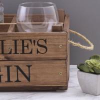 personalised rustic gin crate