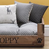 personalised luxury grey wooden pet bed