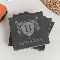 personalised Shield Family Crest Slate Coasters - Set of 4