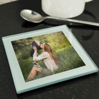 personalised Silver Glass Photo Coaster