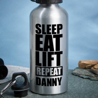 Personalised Sleep Eat Lift Water Bottle