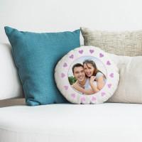 personalised heart frame round cushion