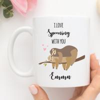 personalised Spooning Sloths Mug