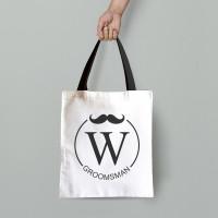 personalised Groomsman Initial Tote Bag
