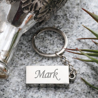 personalised Silver Coloured Rectangle Keyring