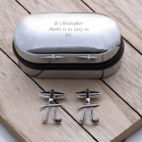 personalised Pi Symbol Cufflinks Gift Set
