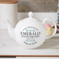 personalised Emerald Wedding Pot Belly Teapot