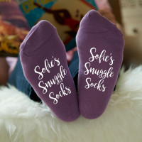 personalised Name Snuggle Purple Socks