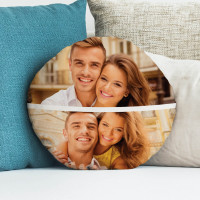 personalised Split Round Photo Cushion 18""