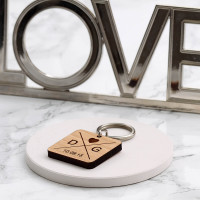 personalised square wood keyring