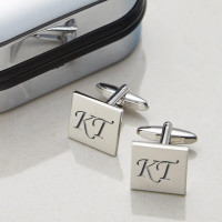 Personalised Square Silver Finish Cufflinks