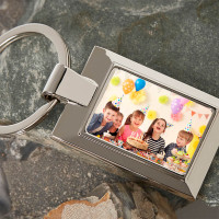 Personalised Birthday Photo Upload Metal Keyring