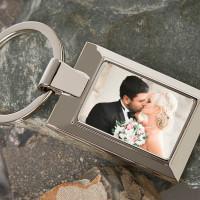 Personalised Wedding Photo Upload Metal Keyring