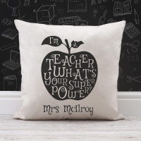 personalised Teacher's Super Power Cotton Cushion