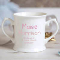 Personalised Baby Girl Teddy Bear Christening Mug